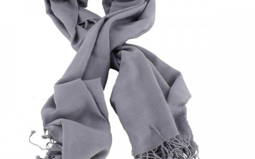Bassin and Brown Aspen Large Plain Wool Scarf – Grey