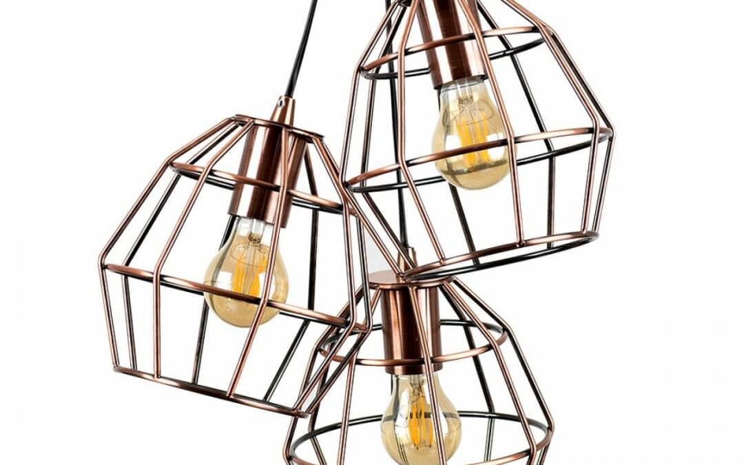 Angus 3-Way Basket Electric Pendant in Copper
