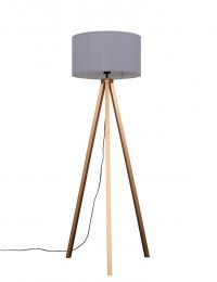 Barbro Painted Copper Tripod Floor Lamp With XL Grey Shade