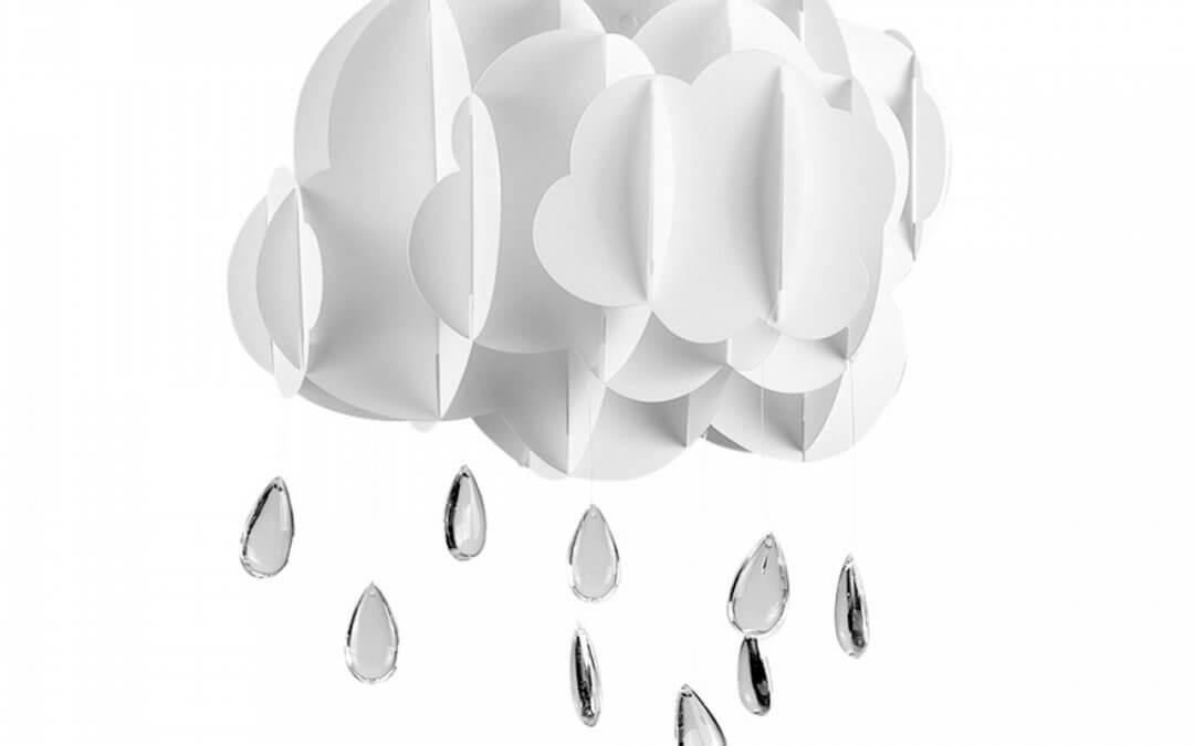 Childrens Cloud and Raindrop Pendant Shade in White