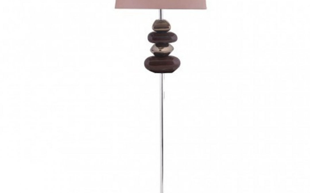 Chocolate & Gold Pebble Floor Lamp