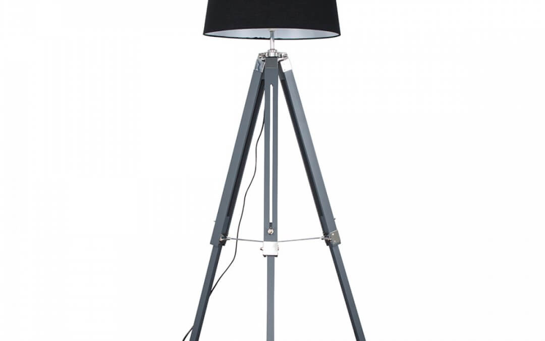 Clipper Grey and Chrome Tripod Floor Lamp with XL Black Aspen Shade