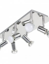 Consul 6-Way Rectangular Plate Spotlight Fitting in Chrome