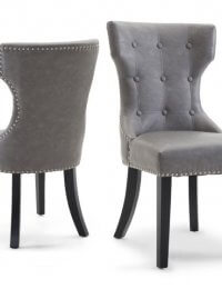 Fairmont Alisa Grey Leather Dining Chairs Pair