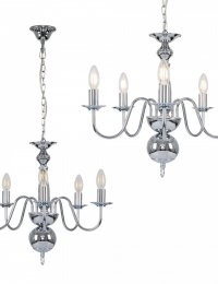 Gothica 5 Way Ceiling Light in Chrome
