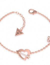 Guess Rose Gold Plated Heart Arrow Swarovski Crystal Bracelet