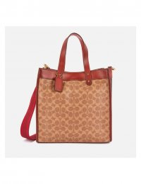 COACH NEW YORK Women's Signature:Horse and Carriage Canvas Mix Field Tote Bag - Tan Brown Rust