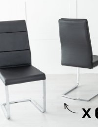 Set of 6 Miami Metal Black Dining Chair