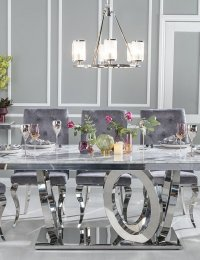 UBRAN DECO Orbit 200cm Grey Marble and Chrome Dining Table and 6 Premiere Grey Knockerback Chairs