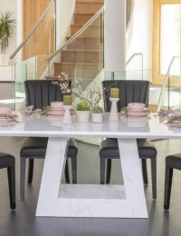 URBAN DECO Milan 160cm White Marble Dining Table and 6 Cadiz Black Chairs