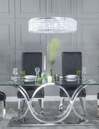 URBAN DECO Wave Glass and Chrome 200cm Dining Table and 6 Allure Black Chairs