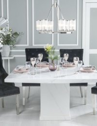 URBAND DECO Turin 140cm White Marble Dining Table and 6 Black Knockerback Chrome Leg Chairs