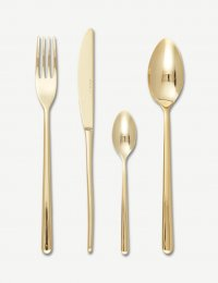 Eme 16 Piece Stainless Steel Cutlery Set, Tin Gold Finish