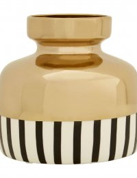 Premier Housewares Cassia Ceramic Vase in Black:White:Gold Stripe - Small